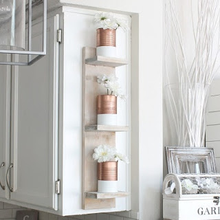DIY Shelves with Dipped Copper Cans