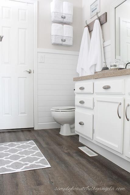Simply Beautiful Bathrooms: Updated Peel & Sick Wood Look Floors Tutorial