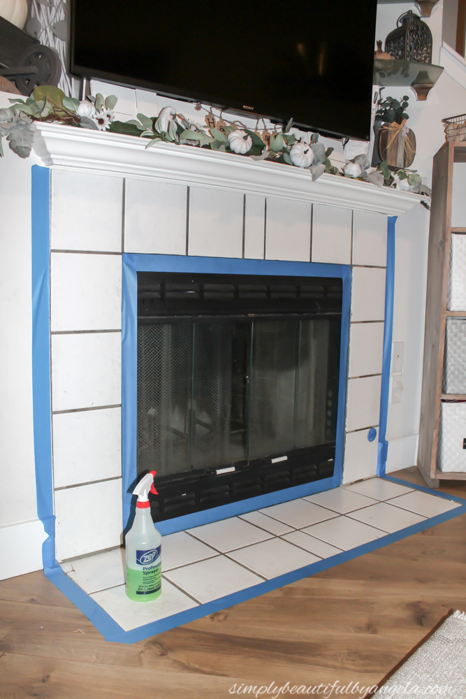 DIY Stenciled Tile Fireplace | Simply Beautiful By Angela