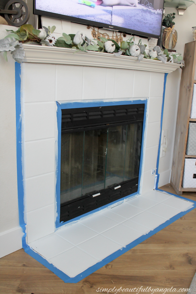 diy stenciled tile fireplace simply beautiful by angela rh simplybeautifulbyangela com fireplace tile paint ideas fireplace ceramic tile paint