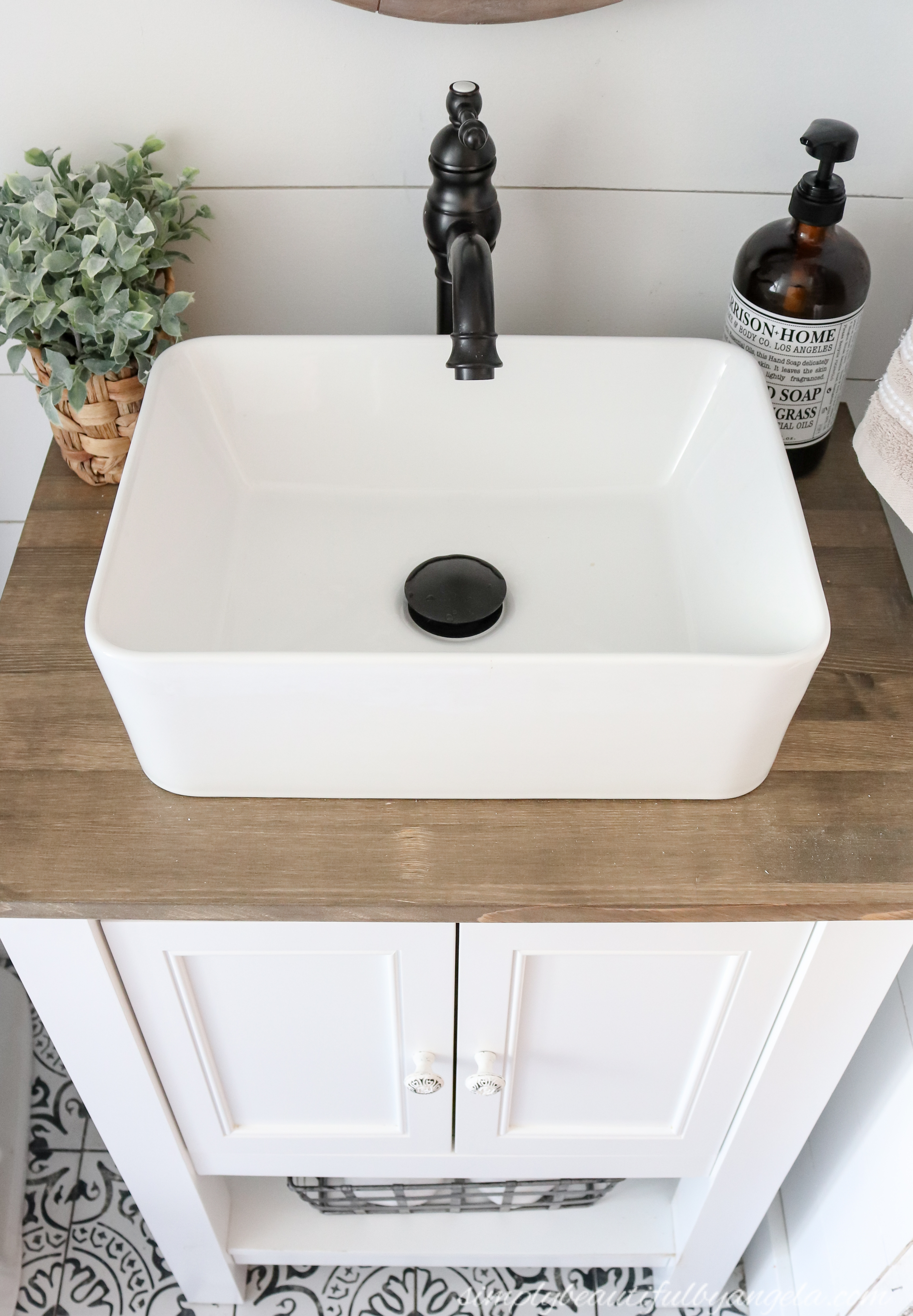 Diy Farmhouse Style Vanity Combo Vessel Sink Wood Counter 12 Simply Beautiful By Angela
