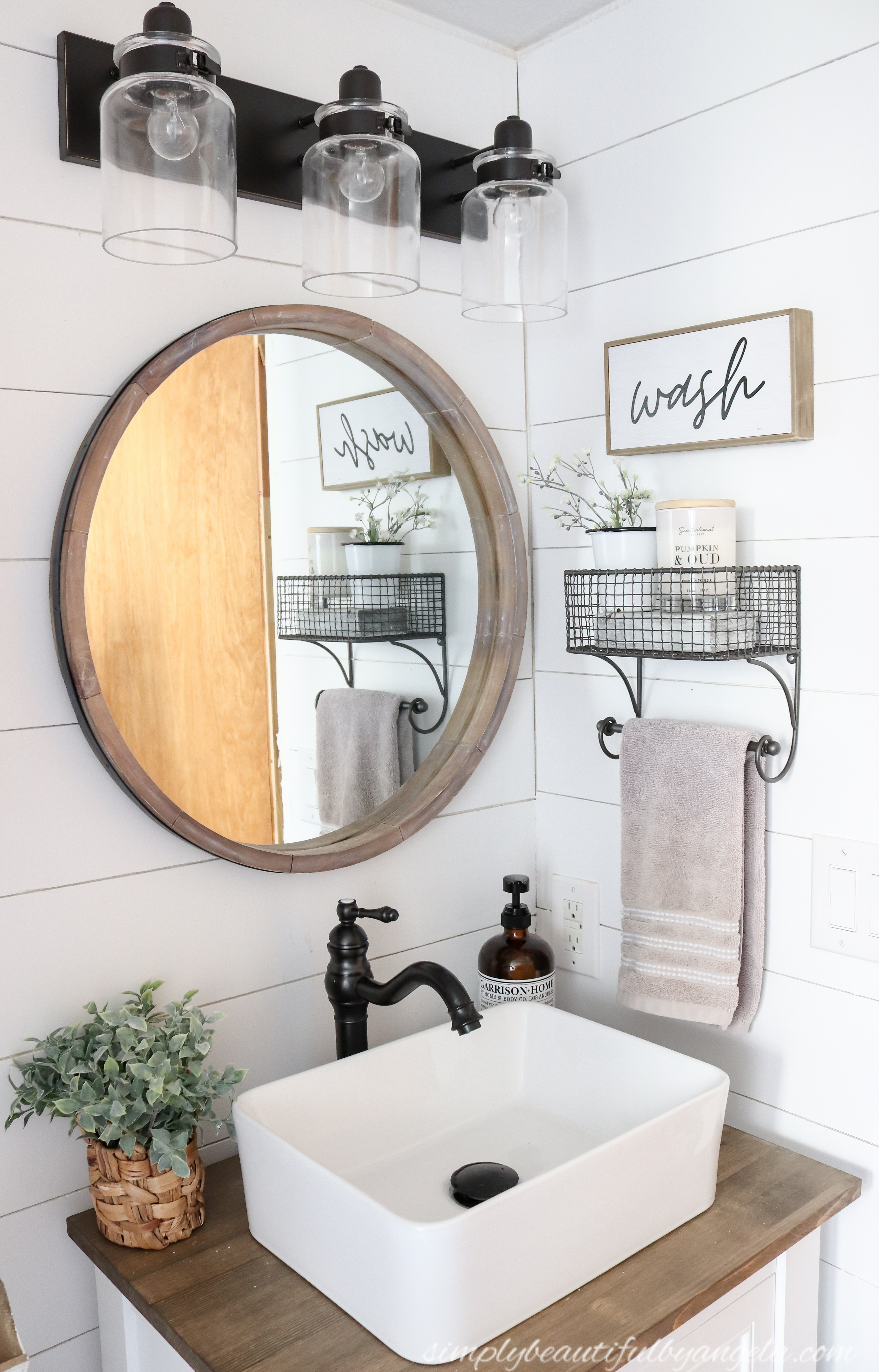 Picture of: Diy Farmhouse Style Vanity Combo Vessel Sink Wood Counter 14