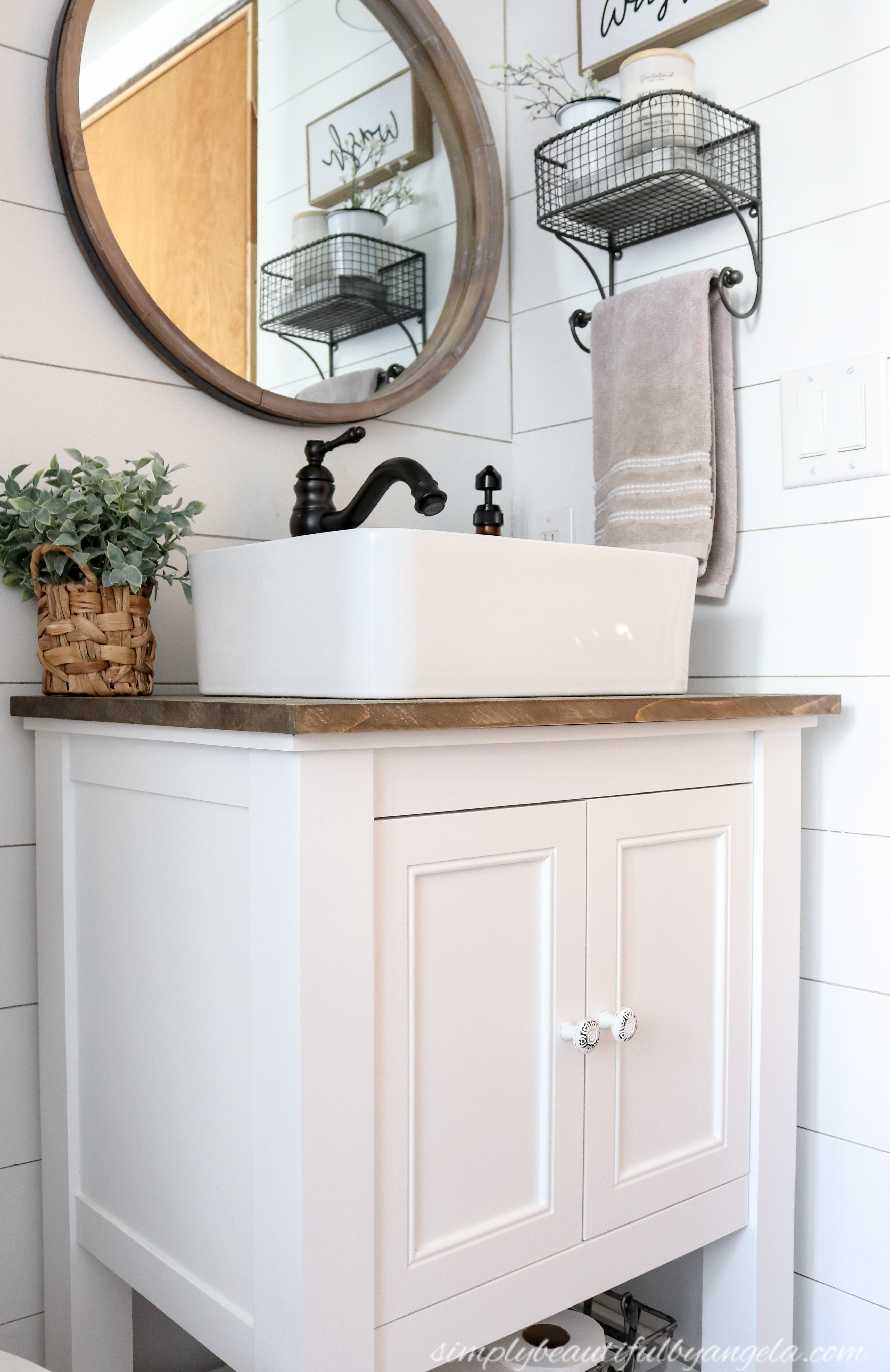 Picture of: Diy Farmhouse Style Vanity Combo Vessel Sink Wood Counter 2