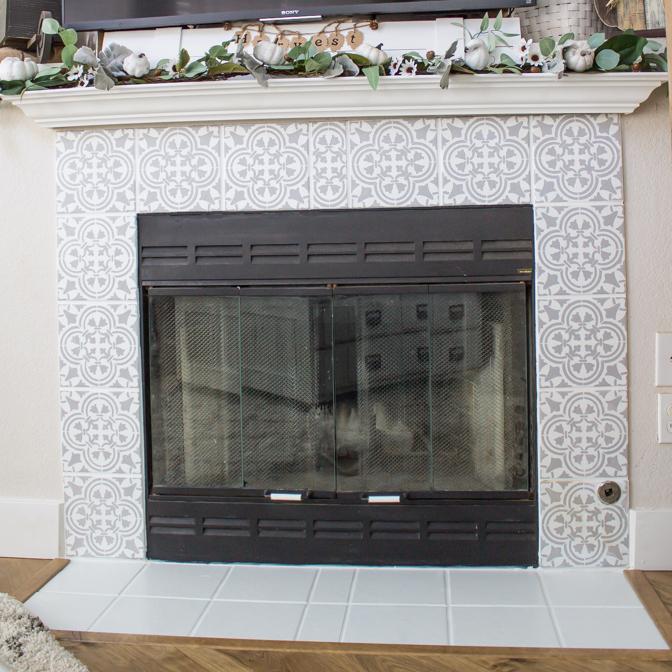 DIY Stenciled Tile Fireplace