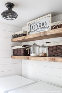 DIY Rustic Farmhouse Laundry Room Shelves