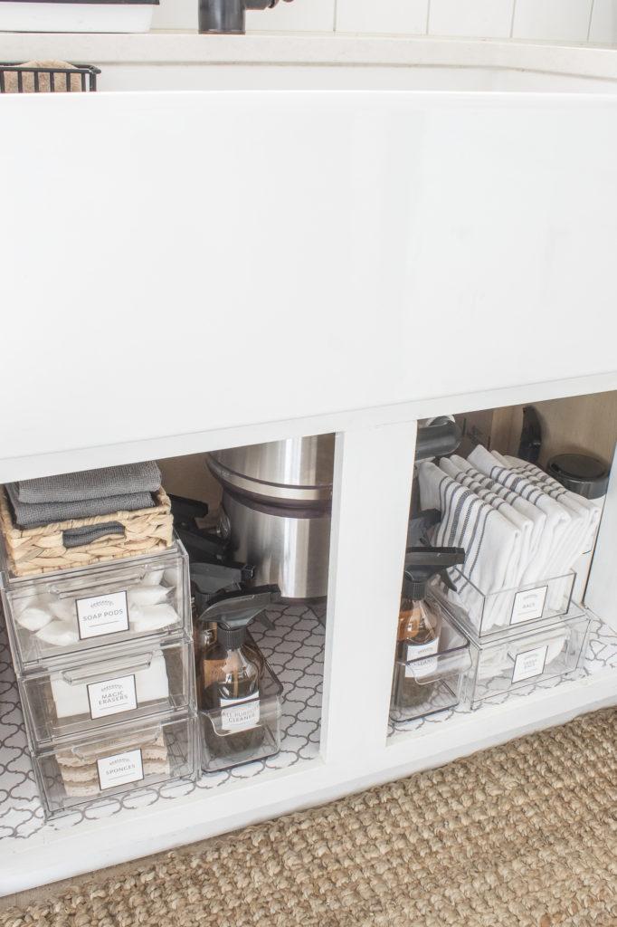 pretty organization under the kitchen
